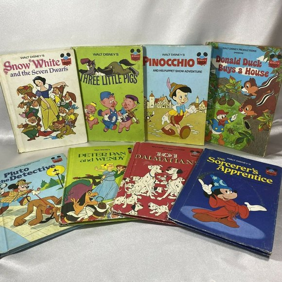 Vtg Disney Book Lot Dalmatians Sorcerers Apprentic